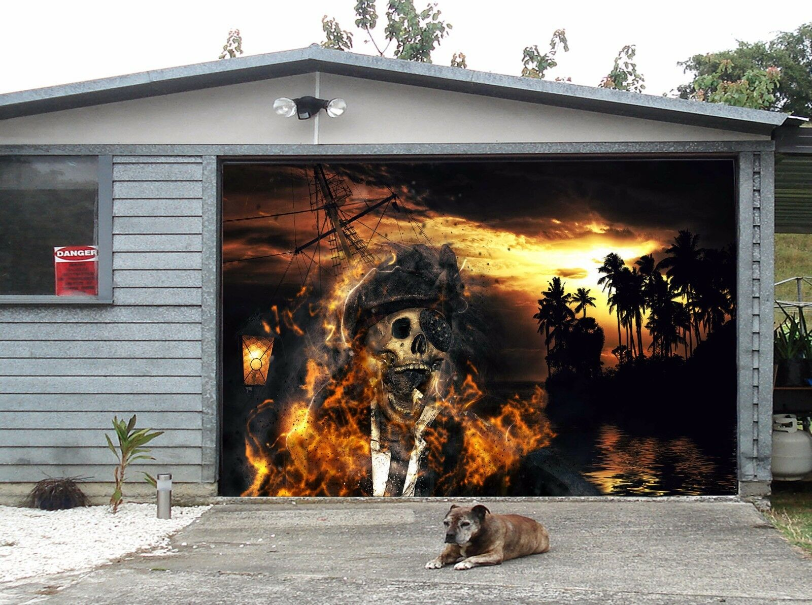 3D Skeleton Island Garage Door Murals Wall Print Decal Wall Deco AJ WALLPAPER UK