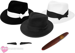 69352d1d453bfb Image is loading DELUXE-GANGSTER-TRILBY-HAT-ADD-MOUSTACHE-CIGAR-1920S-