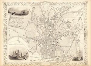 Old Vintage Antique Bath England Decorative Map Tallis Ca 1851 Ebay