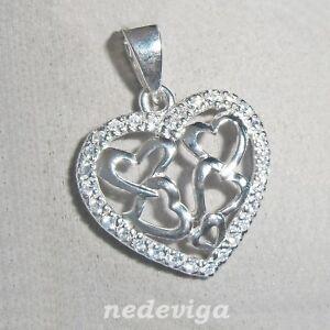 925-Sterling-Silber-Anhaenger-ohne-Kette-Herz-Herzen-mit-Zirkonia-klar-Etui