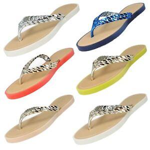 Savannah F0R793 Ladies Toe Post Flip Flops Yellow//Gold Faux Chain UK3x8 25A