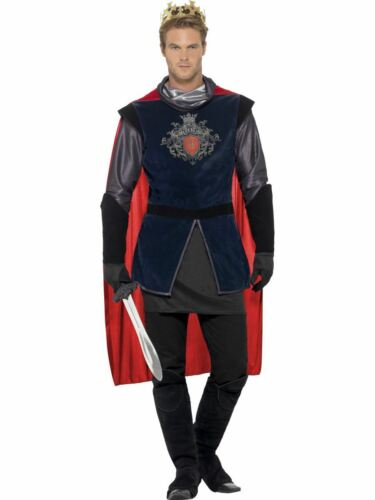 Deluxe Adult King Arthur Costume Mens Medieval Knight Prince Fancy Dress Outfit