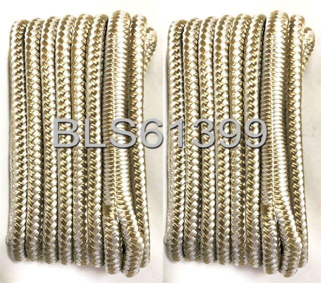 "8 4 Each 10/' /& 15/' ft Boat Dock Lines 3//8/"" White Twisted Nylon Marine Ropes"