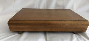 Empty-Vintage-Cutlery-Box-Canteen-Flatware-Chest-Art-Deco-Wooden-Oak-Large