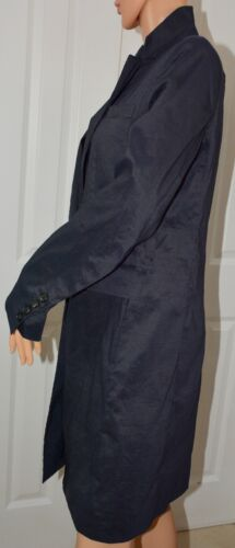 Taffeta Mørkblå Blazer Lang To Dkny Knapper 6 Jakke Sz T67wqx5