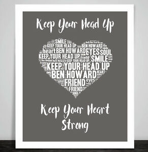 Ben Howard Keep Your Head Up Love Song Music Lyric Print Heart