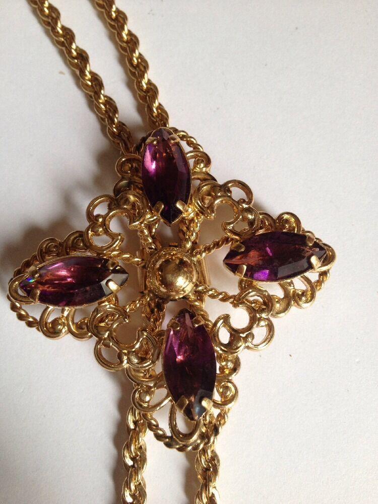 Vintage Beautifui BOLO TIE 1/20 12k.GF With Purple Stone? Or Glass?50g (A8)