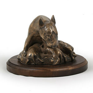 Bull-Terrier-mama-dog-bust-statue-on-wooden-base-UK