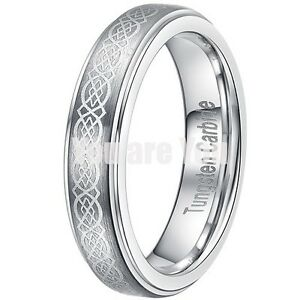 NEW Womens His Hers 4MM Tungsten Wedding Band Ring W Engraved Celtic Design