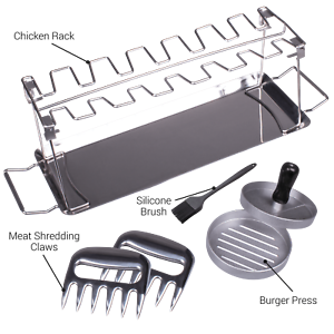 Valiant BBQ Accessory Gift Set with Burger Press, Chicken Rack and Meat Claws