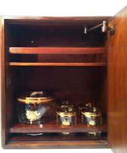 Wooden-Bar-Wall-Cabinet-SAUZA-Tequila-1873-Ice-Bucket-4-Glasses-Antique-Set