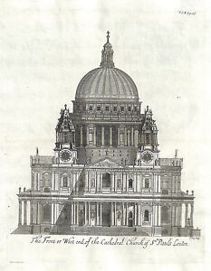 Antique-maps-The-front-or-west-end-of-the-cathedral-church-of-St-Pauls-London