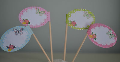 20 BUTTERFLY CUPCAKE FLAG COCKTAIL STICKS - PINK PARTY TABLEWARE AFTERNOON TEA
