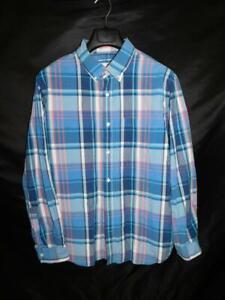 Old-Navy-XL-Blue-Pink-Plaid-Classic-Shirt-Long-Sleeve-Button-Down-Cotton-Mens-XL