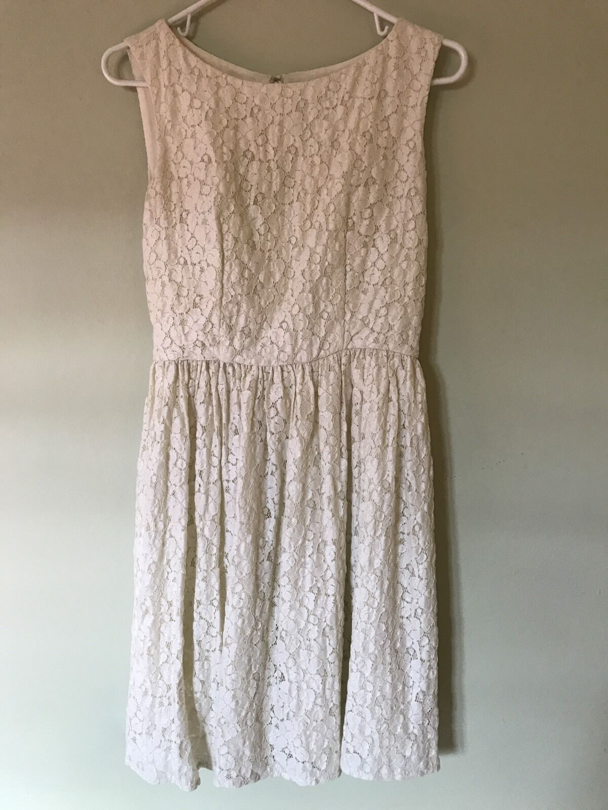 FRENCH CONNECTION FLORAL LACE DRESS Größe 6 IVORY SHIMMER