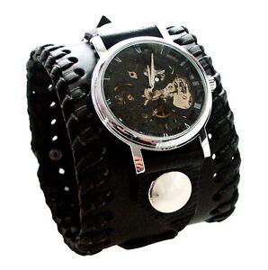 Black-Leather-Watch-Wrist-band-Bracelet-Steampunk-GOTHIC-Mechanical-Handmade-UK