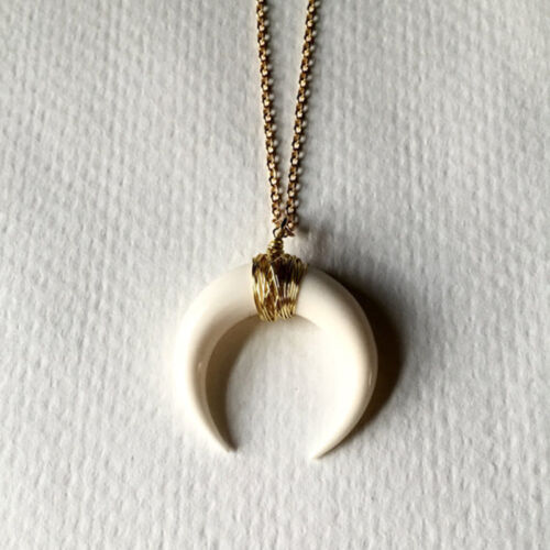 White-Black-Bone-Double-Horn-Necklace-Crescent-Moon-Charm-Pendant-Gold-Chain
