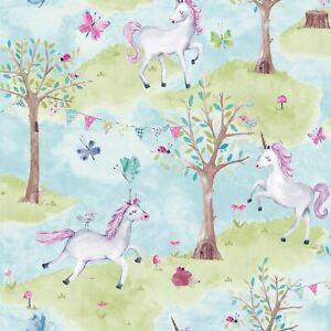 Littles-Ceux-Eco-Bleu-Licorne-Papier-Peint-Grandeco-LO2102-Hypo-Allergeniques