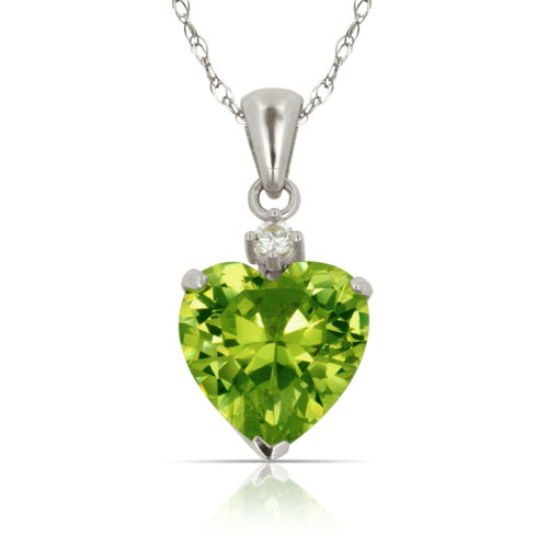 Solid White Gold 14K Heart Birthstone Lab-Created Diamond Pendant 3 ct