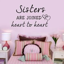 Sisters Are Joined Heart To Heart Wall Decal Vinyl Sticker Quote Girl Room Decor