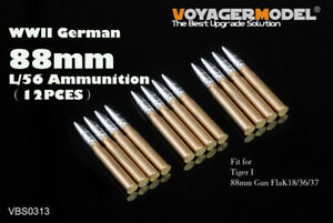 Voyager-1-35-WWII-German-88mm-L-56-Ammunition-12pcs-Universal