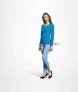 LADIES-T-SHIRT-Sol-039-s-Long-Sleeve-Tee-Ringspun-Cotton-Womens-TEE-12-Colours