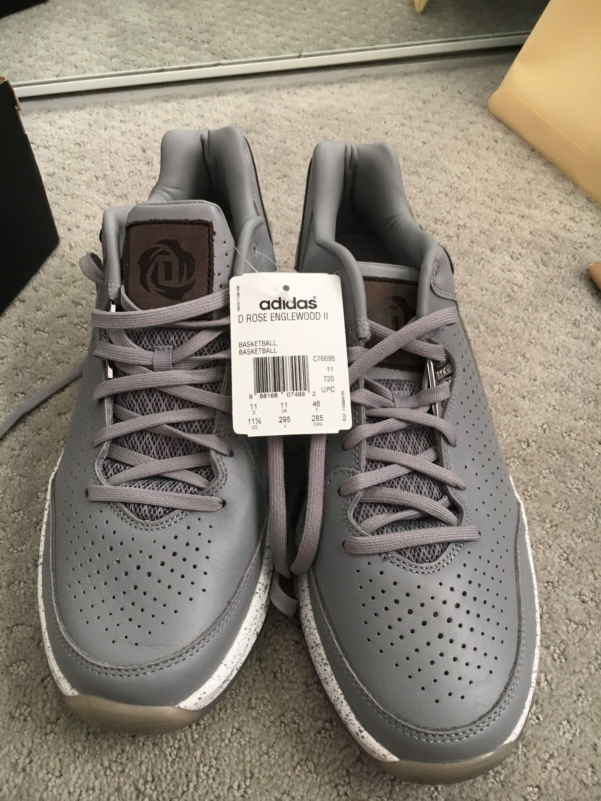 Men's D Rose Englewood II Grey 1/2 Basketball Shoes Size 11 1/2 Grey 77d40d