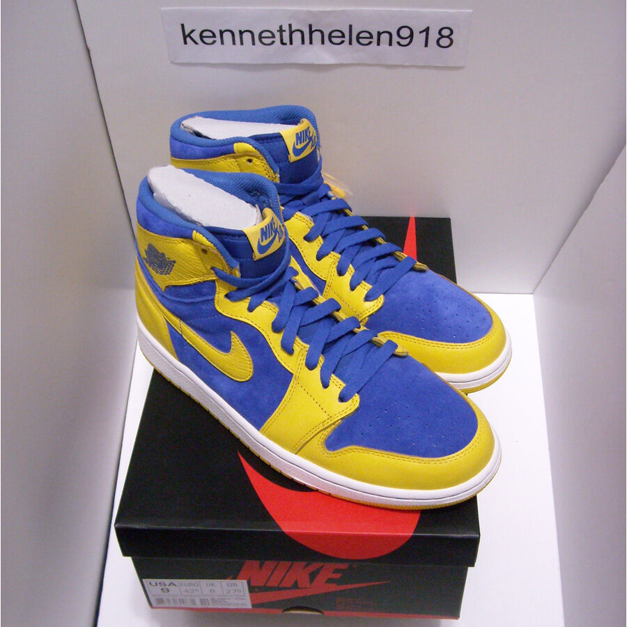 NEW 2013 NIKE AIR JORDAN 1 RETRO HIGH OG LANEY MAIZE ROYAL WHITE MENS SIZE 9