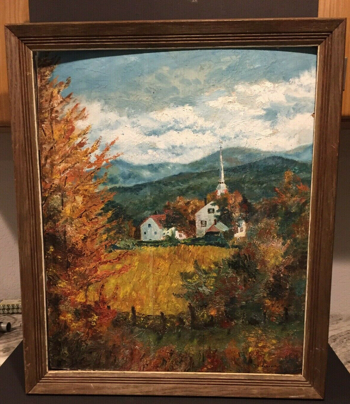 Vintage Original Painting On Canvas Landscape Art Signed By Artist C. Schneiter 6