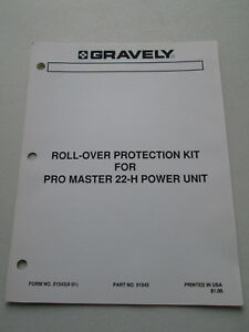 original gravely roll over kit for pro master 22 h manual 51543 rh ebay com