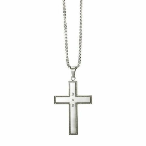 Men/'s Stainless Steel Cross Necklace with the letters DAD in center