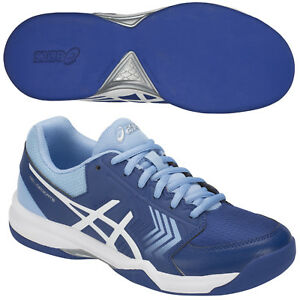 Details zu Asics GEL-DEDICATE 5 INDOOR Damen Tennisschuhe E763Y-400 blau Teppich Carpet