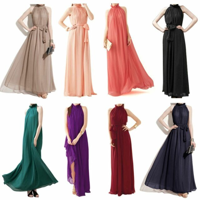 Womens Elegant Chiffon Ruffle Neck Sleeveless Evening Ball Gown Long Maxi Dress
