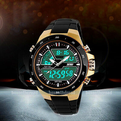S-shock Mens Waterproof Digital LCD Alarm Date Analogue Military Sport Watch