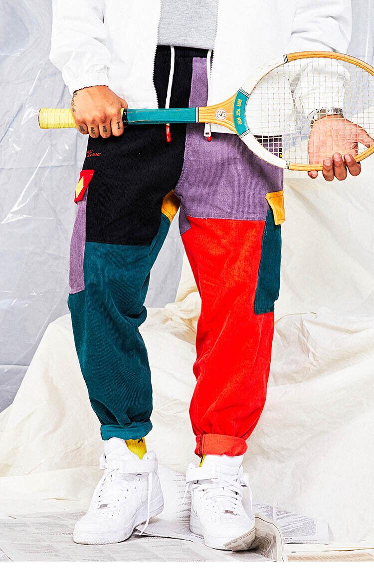 Mens Hip Hip Pants Vintage Patchwork Corduroy Cargo Harem Pant Streetwear Jogger