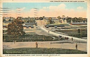 LOUISVILLE-WW1-U-S-ARMY-CAMP-TAYLOR-VIEW-THROUGH-SECTION-OF-ARTILLERY-POSTCARD