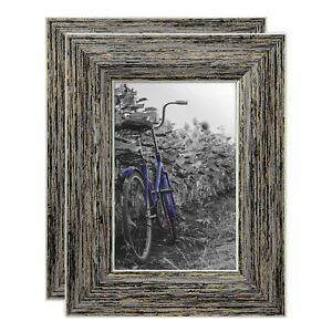 Americanflat Rustic Decor Picture Frames 4 x 6 Easel Stand Wall Tabletop 2 Pack