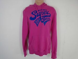 WOMENS-SUPERDRY-PINK-LONG-SLEEVED-JUMPER-HOODIE-SWEATER-PULL-OVER-SIZE-L-LARGE