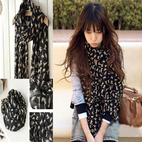 BRAND NEW IN BAG GORGEOUS SOFT CHIFFON STYLE LONG SCARF BLACK WITH SMALL CATS