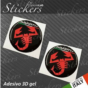 2-Adhesives-Stickers-Logo-Abarth-Fiat-Black-Red-Ita-Resin-3D-50-mm-Auto