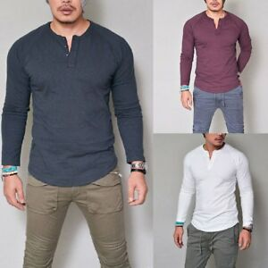 Mens Casual Pullover V Neck Muscle Plain Tee Long Sleeve T-shirt Slim Fit Tops