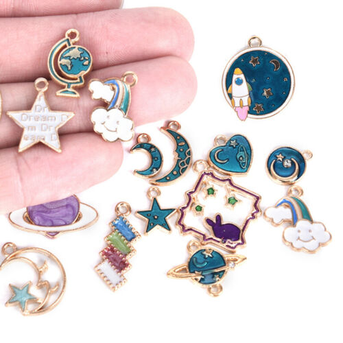 15pcs Mixed Star Moon Universe Enamel Charms Pendant DIY Jewelry Making Findings