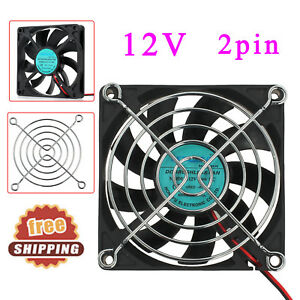 2-pin-Computer-PC-Highspeed-Cooling-Temperature-Case-Fan-80mm-x-80mm-x-15mm-12V