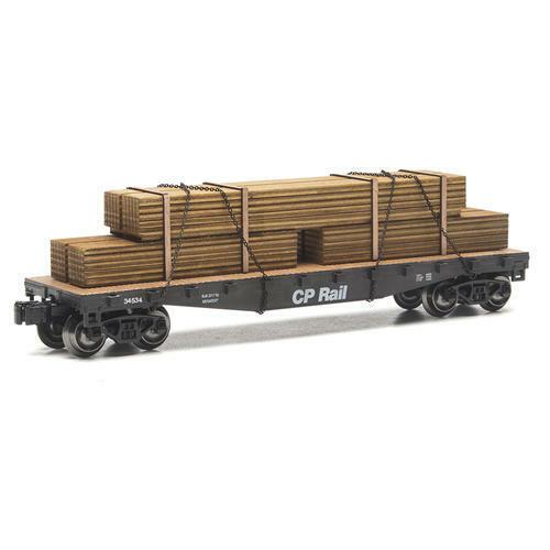 Menards O Gauge Canadian Pacific Flatcar w Lumber Load MTH LIONEL 11 1 2