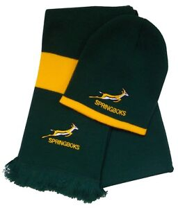 Image is loading South-Africa-Springbok-Rugby-Beanie-Hat-and-Scarf 9d797580ee9