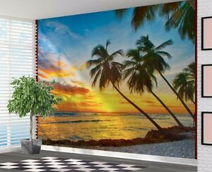 Details About Beautiful Palm Trees At Sunset Beach Tropical Wallpaper Wall Mural 33131482