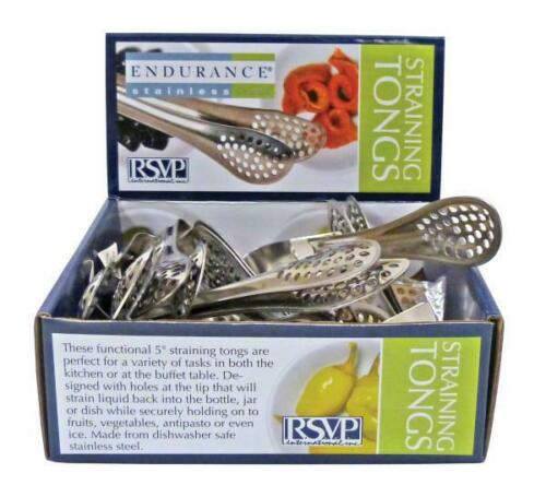 Pack of 3 5 Inches RSVP Endurance Stainless Steel Small Straining Tongs