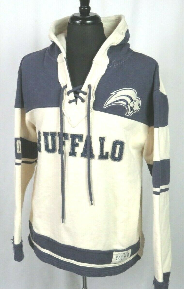 Men's Old Time Hockey Buffalo Sabres Pull Over Jersey Laces Hoodie Sweatshirt MD