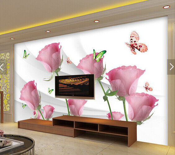 3D Rose Butterfly 68 Wall Paper Wall Print Decal Deco Indoor Wall Mural CA