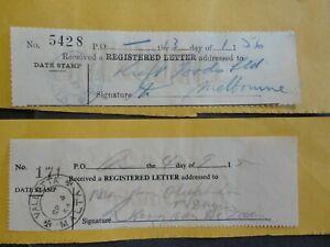 2 MALTA 1954/56 REGISTERED LETTER RECEIPTS